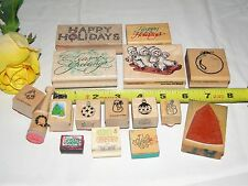 MIXED LOT OF 16 CHRISTMAS HOLIDAY RUBBER STAMPS  Trees Wreaths Bulbs MORE L1