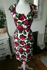 purple multi floral occasion cocktail wrap dress size 12 phase eight