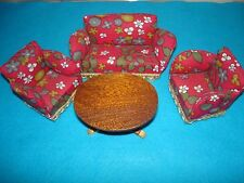 Vintage Lundby DollHouse 1974 Era Red Floral living room sofa chairs Table