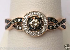 Champagne Brown Diamonds Rose Gold Halo Engagement Wedding Ring Vintage Bypass