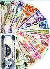 LOT, Nicaragua, 14 banknotes, UNC