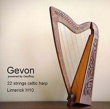 Gevon | 22 Strings Rosewood Celtic Irish Harp, Carry bag & Book | Limerick H10