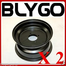 "2X Black 10"" Inch 66mm Hole 4 Stud Front Wheel Rim Quad Dirt Bike ATV Buggy"