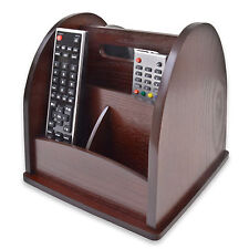 Revolving TV Remote Control Holder Organiser Wood Wooden Rotating Storage