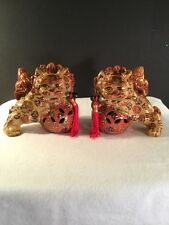 2 Vintage Asian Chinese Foo dogs / Lion Ceramic