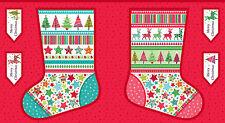 Festive Novelty Christmas Holiday Stocking Quilting Fabric Panel Makower 1515