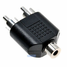 RCA AUDIO SPLITTER Adapter 3.5mm Stereo Jack Female Socket 2 x Male Phono Plugs