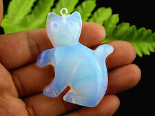 Beautiful Unique Lovely White Opal Opalite Stone Cat Pendant Bead A3681