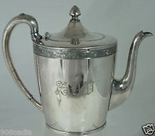 VINTAGE SILVER PLATE TEA/COFFE POT USA MADE FLOWER RIMS,MONO