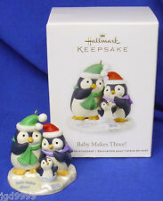 Hallmark Ornament Baby Makes Three 2012 Baby's First Christmas Penguins NIB