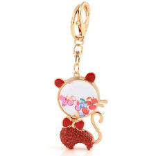 Handbag Charms Accessories Red Lovely Crystal Cute Cat Keyrings Key Chains HK81