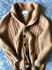 MAISON KITSUNE CAMEL CABLE KNIT SWEATER XL cardigan shawl collar visvim wool WM