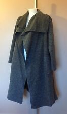 New Ladies Plus Size Boiled Wool Mix Long Waterfall Pocket Duster Jacket Coat