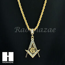 "ICED OUT MASONIC FREEMASON SQUARE G 14K GOLD PLATED 24"" ROPE NECKLACE CHAIN K027"