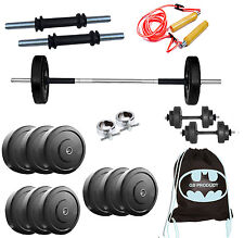 GB 22 KG HOME GYM SET WITH 3 Ft Rod, GYMBAG, ROPE, Dumbbells