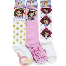Disney Sofia The First Knee High Kids Socks 3 Pair Set Girls Apparel
