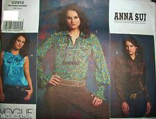 Miss Vogue 2912 Pattern Anna Sui Designer UNCUT Blouse 3 Styles Size 4-6-8