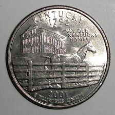 2001 US Quarter, 25 cents, Kentucky Thoroughbred racehorse, animal wildlife coin