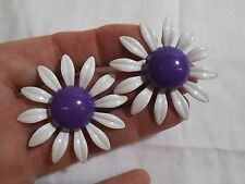 "Vintage White & Purple Enamel Daisy Flower Power Earrings-Large 1.75""-Retro"