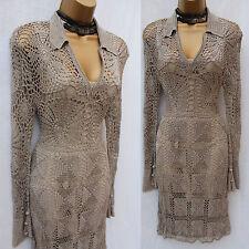 Rare Karen Millen main crochet en maille kaki gris cocktail robe km 1 / uk8