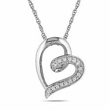 10k White Gold Diamond Heart love swivel Pendant Necklace With Chain GH I2-I3