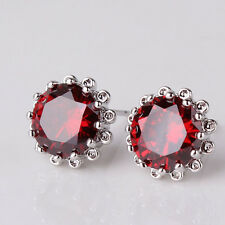 Garnet Red 18ct White Gold filled flower shaped stud earrings Round crystal