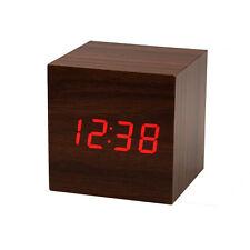 LED rouge numérique en bois bureau en bois Alarme Horloge Brown voix contrôle