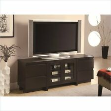 Entertainment Center Glass Low Profile TV Console with Doors in Cappuccino