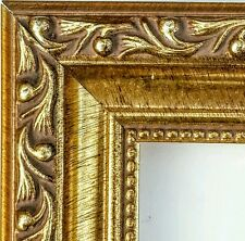 36 ft - Ornate Gold Picture Frame Moulding, Beaded Lip, Solid Wood
