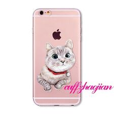 Cute Meow Cat Pattern Soft Clear TPU Case Cover For iPhone 4S 5S SE 5C 6 6S Plus