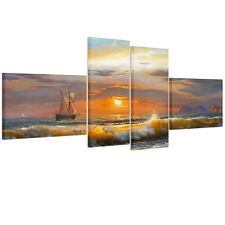 Ready To Hang Canvas Print Wall Art Painting-Sunset Sailing Ship Wood Framed