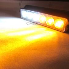 6 LED Amber/White Car Strobe Flash Light Dash Emergency Warn Lamp 12/24V All fit