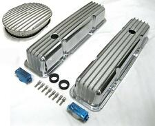 """58-86 SBC Chevy Tall Polished Aluminum Finned Valve Covers & 12"""" Air Cleaner Kit"""