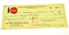 Coca-Cola Coke Cheque Cuadros EE.UU. 1956 Bottling Empresa of Monongahela