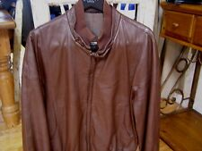 Bally Mens Brown Leather Bomber Jacket Size Large / 40 R