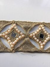 ATTRACTIVE INDIAN CUTWORK SQUARE MIRRORS, PEARLS & GOLD THREAD TRIM/LACE-1 Meter