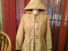 Scoop woman size 13/14 hooded button front cinch waste light weight jacket