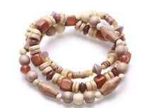 MIXED BROWN TONES & SHAPES WOOD BEAD TRIPLE STRAND BOHO BEAUTY BRACELET(ZX43)