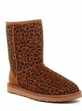 UGG Australia CLASSIC SHORT CHESTNUT ROSETTE LEOPARD BOOTS US 6 EU 37 NEW IN BOX