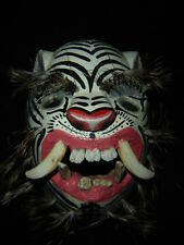 238 TIGER WHITE WOODEN MASK  tigre wild animal handcraft wall decor artesania