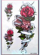3D IMPERMEABILE Body Art Tatuaggio Temporaneo fogli di grandi dimensioni 19 x 12cm