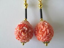 LARGE CARVED FAUX CORAL w/GOLD BEADS & BLACK STEM PIERCED EARRINGS