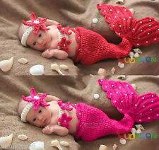 Handmade New Baby Infant Red Mermaid Crochet Costume 0-6months PINK