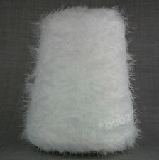 SILKY SOFT 4 PLY FEATHER EYELASH YARN BRIGHT OPTIC WHITE 500g CONE 10 BALL FANCY