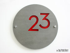 Modern House Numbers , Round Concrete & Red Acrylic- Sign Plaque - Door Number