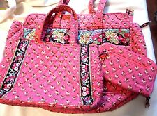 LOT VERA BRADLEY 3 PC. PINK PANSY WALLET HANDBAG OVERNIGHT/DIAPER BAG EXC COND!!