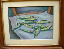 Fish Still Life O/C Rocco Tenaglia Italian Listed.