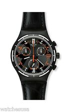 Swatch Irony Eruption Black Dial Chronograph Black Leather Men's Watch YCB4023