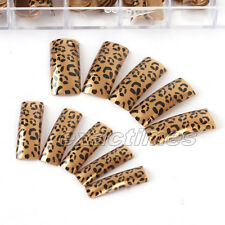 70pcs French Manicure False Nail Art Tips Fashion Brown Leopard Design Tips