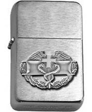 US Army Antique Silver Combat Medic Badge Brushed Chrome Star Lighter